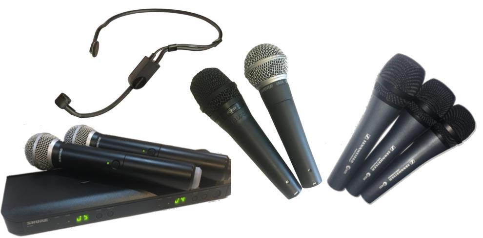 Handheld wireless mics, wireless headset mic, handheld wired mics including Shure SM58 and Sennheiser E835