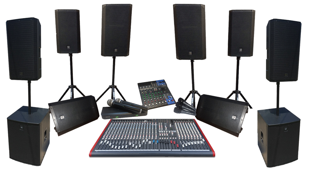 PA Hire including speakers, subwoofers, microphones, wireless microphones, mixers, monitors and holdbacks