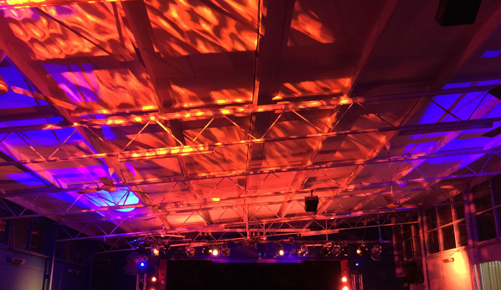 Venue lighting - ceiling wash via our ShowTec Phantom moving heads