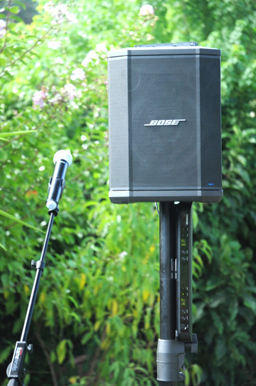 Portable PA hire bundle - Bose S1 Pro, Shure Wireless Mic, 12V battery pack, speaker stand and microphone stand