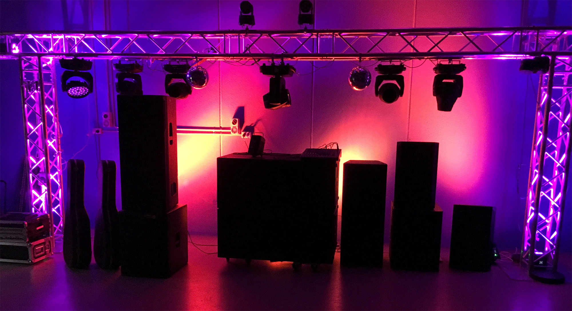 Some of our hire lighting at work displaying our wide range of PA speakers and a 5 metre wide 290mm box truss goalpost
