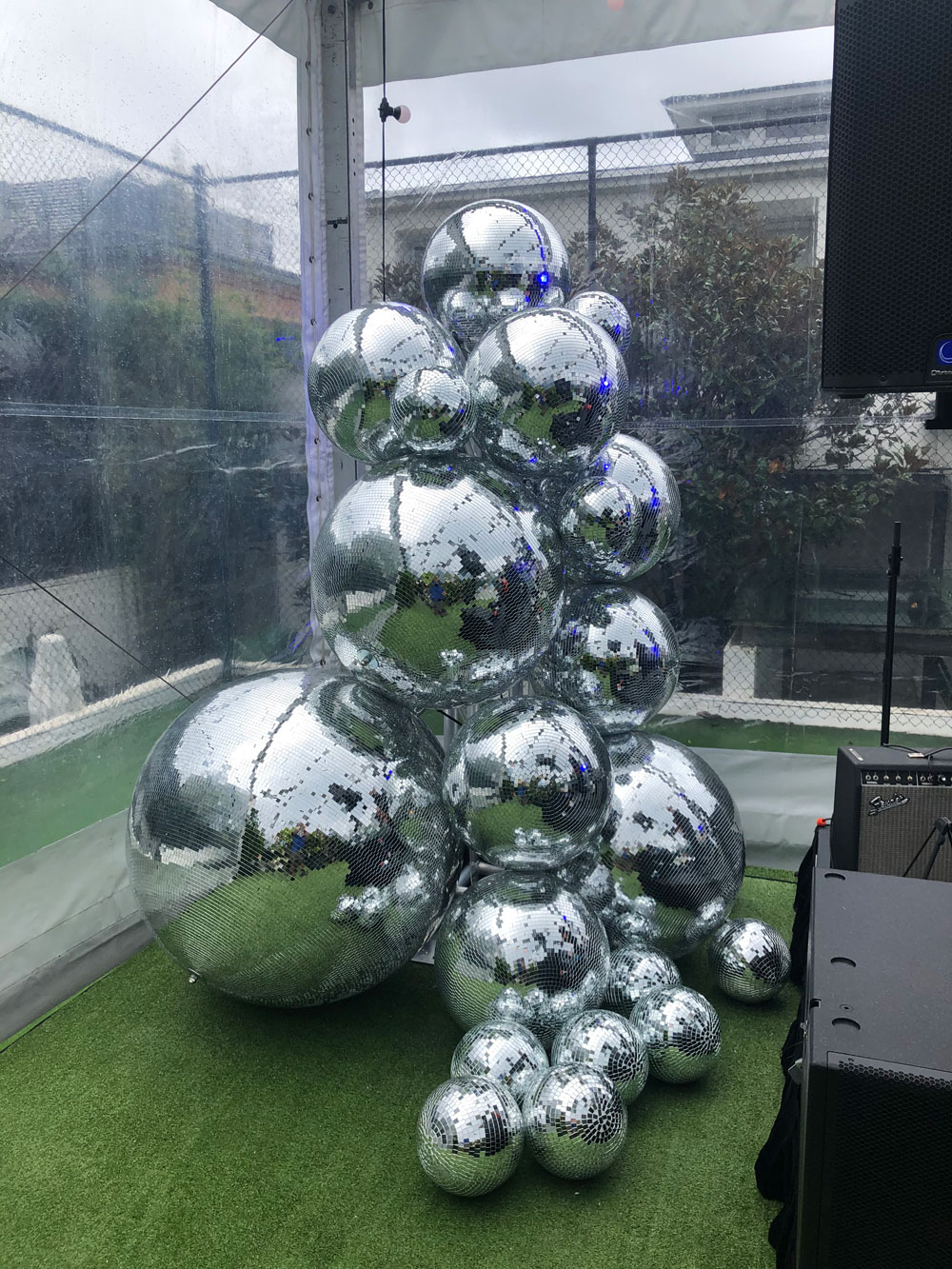 Disco balls illuminated by two Showtec moving heads