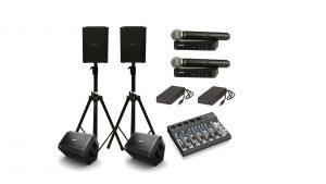 Portable performer pack featuring Bose S1 Pro portable PA speakers and Shure wireless mics